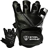 Steel Sweat Workout Gloves - Best for Weightlifting Gym Fitness Training and Crossfit – Made for Men and Women who Love Lifting Weights and Exercise - Leather SCARR