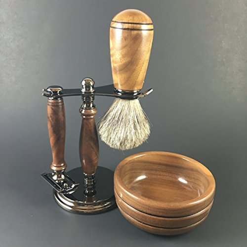 Men's Shaving Kit hand-crafted from American Black Walnut by Always Turning Woodworks