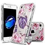 Case+Tempered_Glass+Stylus, TUFF Lucid Hybrid Protector Cover Fits Apple iPhone 7/8 (Also Fits 6/6S, But Cannot Use Earphone) MYBAT Transparent Clear/Violet Monstera Purple Leaves Pink Flowers