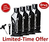 Wine Bottle Travel Protector by VINOVITA (4-PACK): Super Safe With 2 Bubble Layers, Leak Proof Design - Compact, Portable and Stylish Wine Travel Bag – Not Limited To Wine Transportation