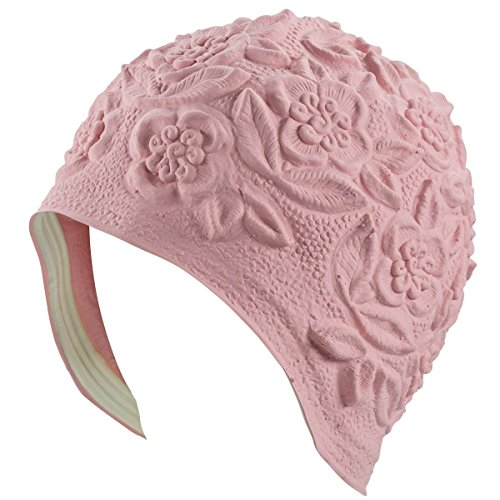 Beemo Latex Swim Cap - Women Stylish Swimming Cap Great for Ladies, Perfect to Keep Hair Dry - Suitable for Long Hair - Embossed Flower - Light ()