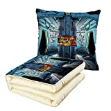 iPrint Quilt Dual-Use Pillow Outer Space Decor Space Ship Station Base Control Room with Technology Elements Features Image Multifunctional Air-Conditioning Quilt Blue Black Orange