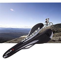Vktech- Sillín de Bicicleta de de Fibra de Carbono MTB para Bicicleta Carretera de Montaña- Negro