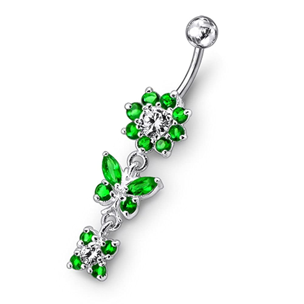 AtoZ Piercing Fancy Flower with Butterfly Dangling 925 Sterling Silver with Stainless Steel Belly Button Rings