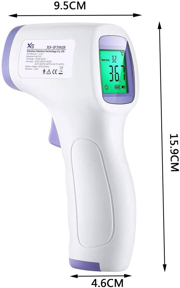 Large LCD Screen and Data Memory Instant Accurate Reading for Home Digital Infrared/_Forehead/_Thermometer Fever Alarm Adult Baby Outdoor Non-Contact with 3 Functions