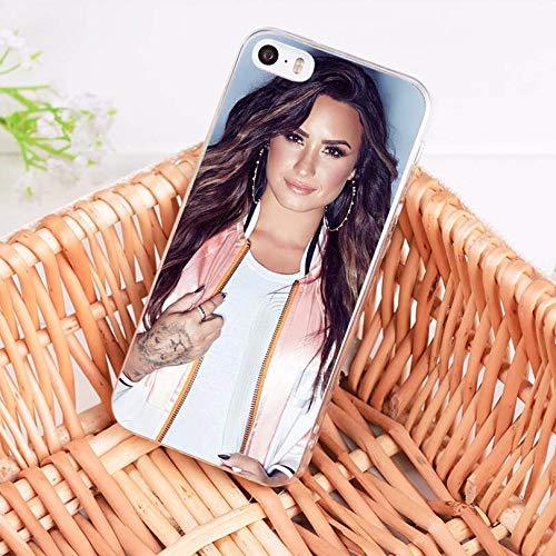 Blue Demi Lovato iPhone 6 Case, Beautiful Pop Singer iPhone 6S Cover Musician Artist iPhone Casing Camp Rock Actress, Gift for Demy Levato Fans Dirt Resistant Half Wrapped Case Soft TPU