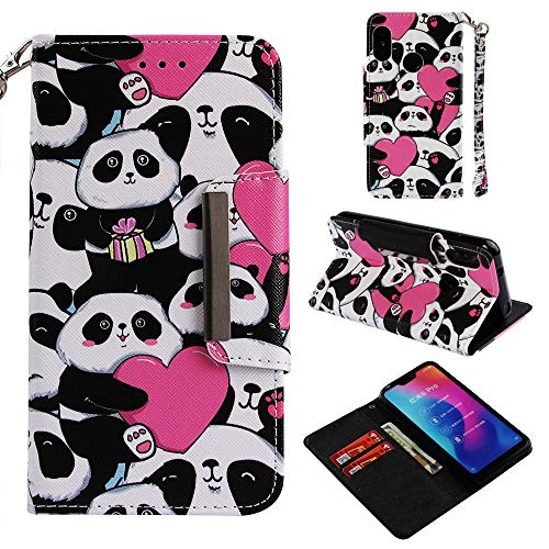 Ostop Painted Leather Wallet Xiaomi Mi A2 Lite Case,Redmi 6 Pro Case,[Kickstand Feature] Pink Heart Panda Printed Pattern Magnetic Flip Cover with Card Slots and Wrist Strap Shockproof Shell ()