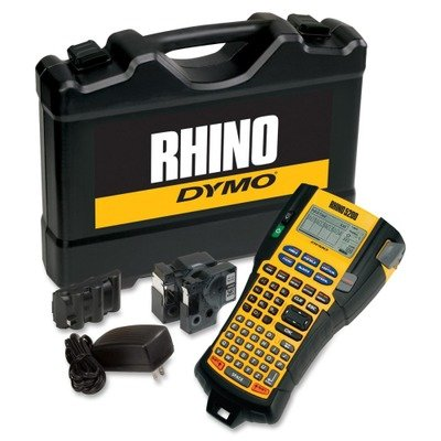 "DYMO Rhino 5200 Industrial Label Maker Cary Case Kit with 2 Rolls of Vinyl Labels, 3/4"" & 3/8"", Black on White (1756589) from DYMO"
