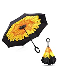 Inverted Double Layer Windproof Umbrella, Reversible Waterproof Folding Umbrella With C-Shape Handle For Car Travel Rain Golf UV Protection with Carry Bag Free (Sunflower)