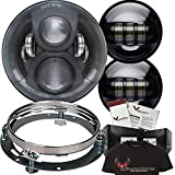 """Eagle Lights 7"""" Round LED Headlight Kit 8700G2 Gen 2 Daymaker with Matching Passing Lamps & Chrome Adapter Ring (Black)"""