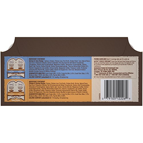 Nutro PERFECT PORTIONS Pate Multi-Pack Real Salmon & Tuna and Real Chicken & Shrimp Wet Cat Food Trays 2.65 Ounces (24 Twin Packs) by Nutro (Image #1)