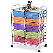 Giantex 15 Drawer Rolling Storage Cart Tools Scrapbook Paper Office School Organizer, Multicolor