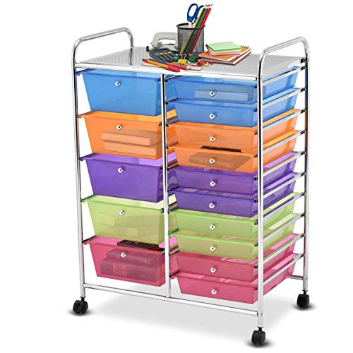 Giantex 15 Drawer Rolling Storage Cart Tools Scrapbook Paper Office School Organizer, Multicolor ()
