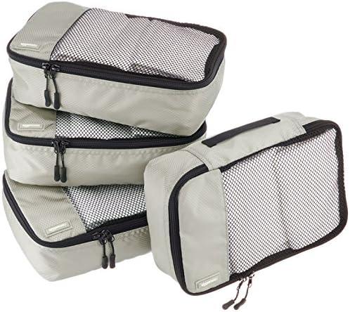 Amazon Basics Small Packing Travel Organizer Cubes Set, Gray – 4-Piece Set