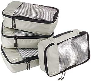 AmazonBasics Small Packing Cubes - 4 Piece Set, Gray