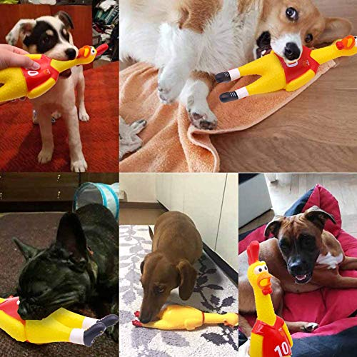 POPLAY 15inch Rubber Chicken Squeeze Chicken Prank Novelty Pet Toys