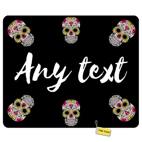 Personalized Name Custom Any Text - Halloween Candy Skull Diamond Day of The Dead Round Rectangle Non-Slip Rubber Comfortable Desk Mousepad Standard Mouse Pad Gift 9.5