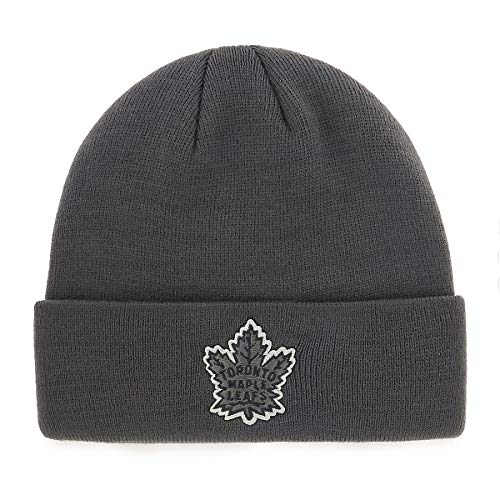 e Leafs Male Raised Cuff Knit Cap, Charcoal, One Size ()