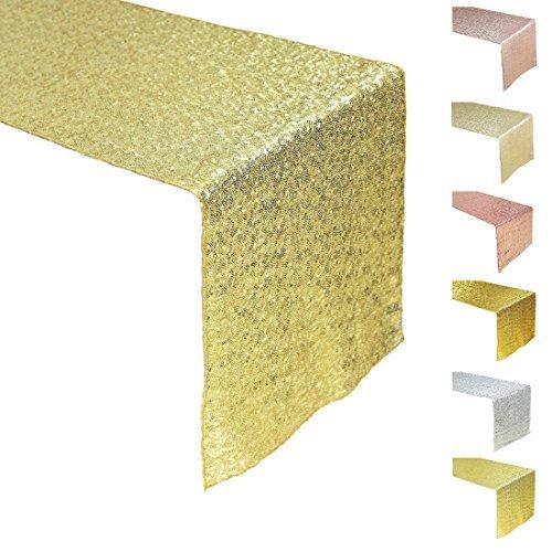 """AMAZLINEN Premium Quality Light Gold Sequin Table Runner-14""""108"""""""