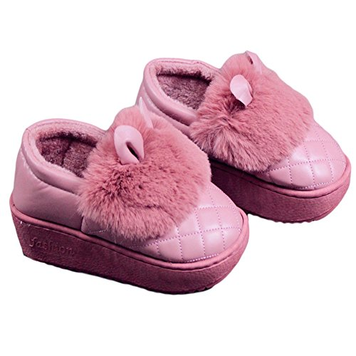 Cybling Mujeres Calientes Zapatos De Interior Cute Rabbit House Slipper Suela Gruesa Antideslizante Impermeable Rosa