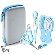 Vetté Baby Grooming Kit Infant Complete Nursery Care Kit with 2 Nail Trimmer, 2 Hair Brushes, 3 Nose Suction - Gift Registry for Baby Shower (Blue)