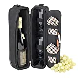 Picnic at Ascot - Deluxe Insulated Wine Tote with 2 Wine Glasses, Napkins and Corkscrew - London Plaid
