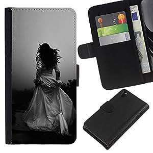 A-type (Woman Black White Wedding Escape) Colorida Impresión Funda Cuero Monedero Caja Bolsa Cubierta Caja Piel Card Slots Para Sony Xperia Z3 D6603