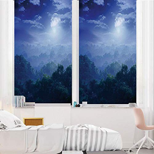 Fantasy House Decor 3D No Glue Static Decorative Privacy Window Films, Moonlight -