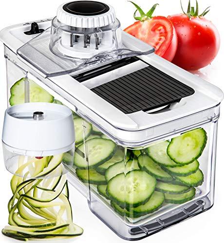 (Prep Naturals Adjustable Mandoline Slicer with Spiralizer Vegetable Slicer - Veggie Slicer Mandoline Food Slicer with Julienne Grater - V Slicer Mandoline Cutter - Vegetable Cutter Zoodle Maker )