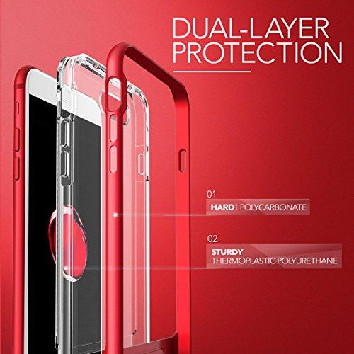 Coque iPhone 7 Plus, VRS Design [Crystal Bumper][Rouge] - [Transparent étui][Housse de Protection][Kickstand][Anti Scratch Case][Anti Chocs][Military Grade] Pour Apple iPhone 7 Plus