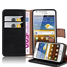 Cadorabo – Luxury Book Style Wallet Design Case for Samsung Galaxy S2 (i9100) with 2 Card Slots and Stand Function - Etui Case Cover Protection Pouch in GRAPHITE-BLACK