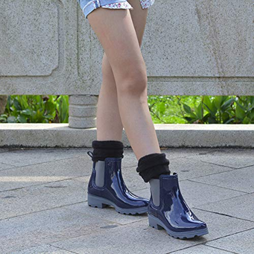 Short Women's fereshte C On Rain Booties Chelsea Waterproof Ankle Boots Blue Slip TOwA57qwx
