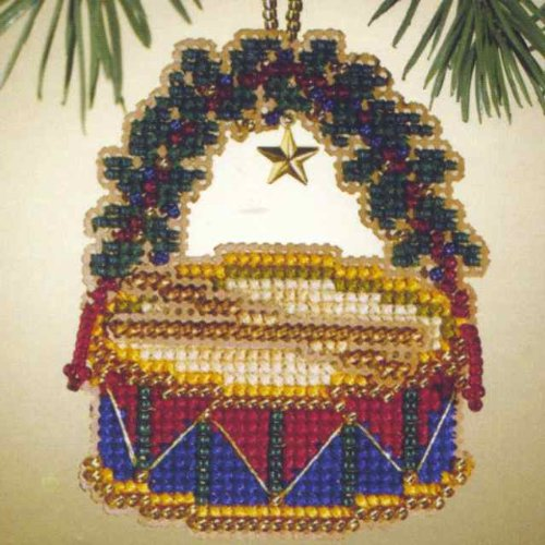 Hill Ornament - Drum Beaded Counted Cross Stitch Ornament Kit Mill Hill 2007 Holiday Harmony MH167305
