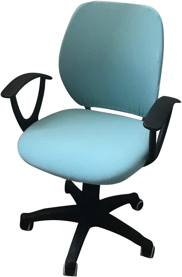MIFXIN Computer Office Chair Cover Two-Piece Stretch Polyester Slipcovers Universal Swivel Office Desk Task Chair Cover Removable Washable Rotating Armchair Protective Cover (Light Blue)