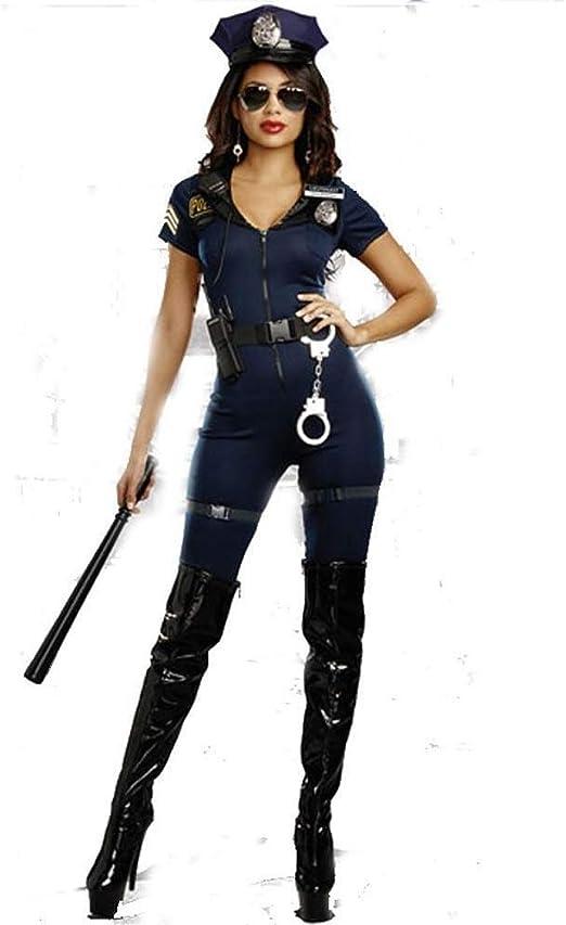 Fashion-Cos1 Disfraz de Halloween Mujer Policía de Manga Corta ...