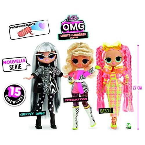 L.o.l surprise omg lights, la nueva colección de muñecas lol surprise Con sus llamativos y coloridos looks siempre a la última Presentamos a: dazzie, groovy y speedster, 3 modelos diferentes que se servirán según existencias