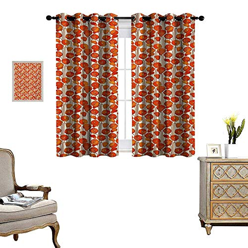 Floral Patterned Drape for Glass Door Art Nouveau Style Poppy Flowers Retro Spring Summer Garden Foliage Petals Waterproof Window Curtain W72 x L45 Orange and Ivory
