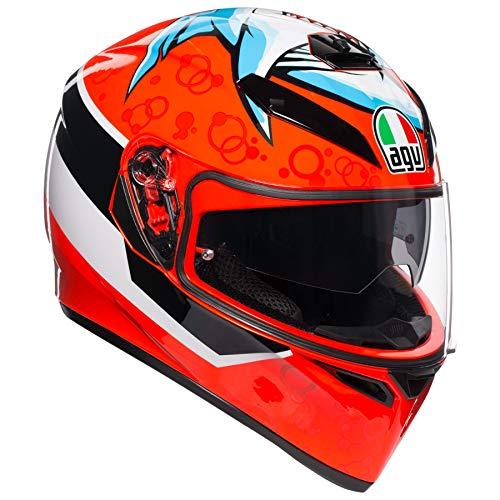 AGV Unisex-Adult Full Face K-3 SV Attack Motorcycle Helmet (Red/Multi, Small) ()