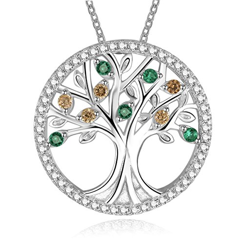 BONLAVIE Women's Family Tree with Round Cut Emerald & Morganite 925 Sterling Silver Chain Pendant Necklace