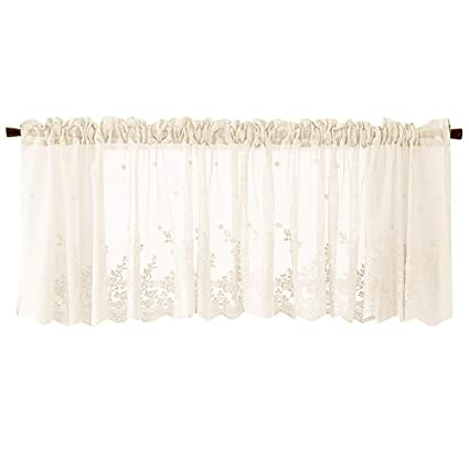 FreshZone Lace Kitchen Curtains And Valances Set   Cafe Net Curtain Waffle  Woven Textured Valance For