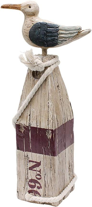 Seagull Statue Figurine Nautical Decoration, Rustic Indoor Outdoor Nautical Beach Theme Room Decor for Living Room Bathroom Home Decor Yard and Garden Statue 11Inch (White B)