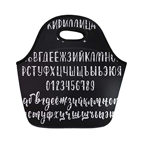 (Semtomn Neoprene Lunch Tote Bag Chalk Handdrawn Russian Cyrillic Brush Script Numbers and Symbols Reusable Cooler Bags Insulated Thermal Picnic Handbag for Travel,School,Outdoors,Work)