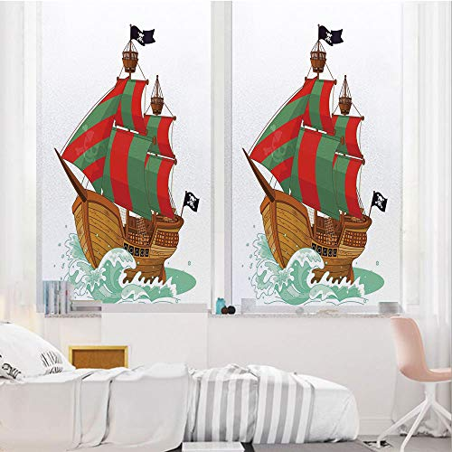 Pirate 3D No Glue Static Decorative Privacy Window Films, Cartoon Style Ancient Pirate Sail Ship on Ocean Water Splashes Colorful Large Flags Decorative,17.7