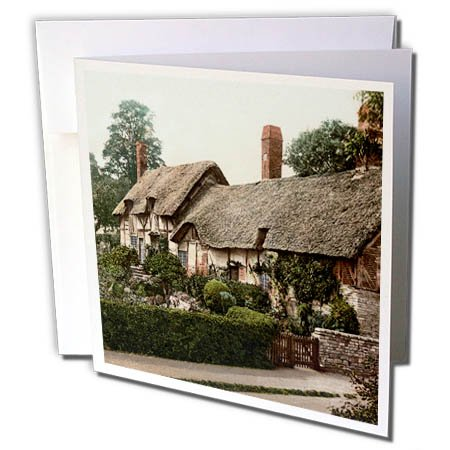 3dRose Greeting Card Anne Hathaway Cottage-Shakespeare's Wife-Stratford-England, 6 x 6