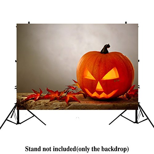ML 5x7 Gray Wall Photography Background Yellow Pumpkin Backdrop for Halloween Indoor and Outdoor Party -