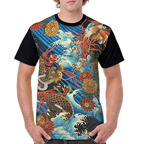 Eastern Chinese Style Dragon Phoenix Sea Wave Unisex T Shirt for Men Graphic 3D Printed Tees Cool Funny Casual Short Sleeve Top Black