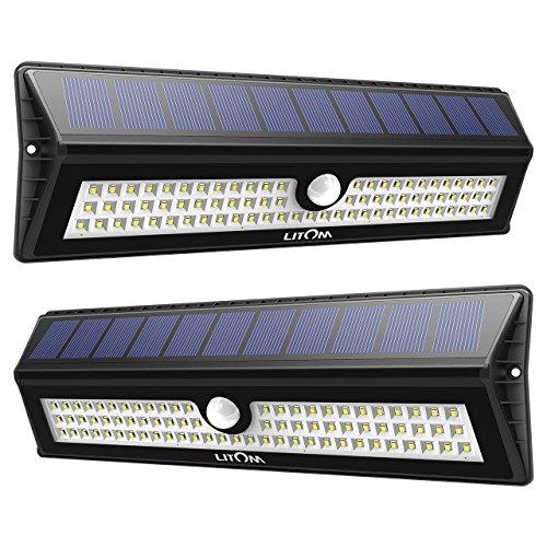Litom 77 LED Super Bright Solar Lights Outdoor, Solar Motion Sensor Security Light Wireless IP65 Waterproof Wall Lights for Front Door, Back Yard, Garage, Deck, Porch, Shed, Walkway, Step (2 Pack)