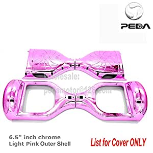 """PEDA New Chrome 6.5"""" Two Wheel Smart Self Balancing Electric Scooter 2 wheels Replacement Cover Case Outer Shell DIY Accessories (Light Pink, 6.5 inch)"""