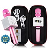 Wireless Microphone Karaoke Mic Amplifier Machine Bluetooth Handheld Portable Broadcast, Present, Youtube Songs Connect Android, Apple & Computers – By Karaoke-Mike(Pink)