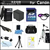 32GB Accessory Kit For Canon VIXIA HF S30 Flash Memory HD Camcorder Includes 32GB High Speed SD Memory Card + Extended (2100Mah) Replacement BP-819 Battery + Ac/Dc Charger + Deluxe Case + Mini HDMI Cable + 50'' Tripod + 3PC Filter Kit (UV-CPL-FLD) + More